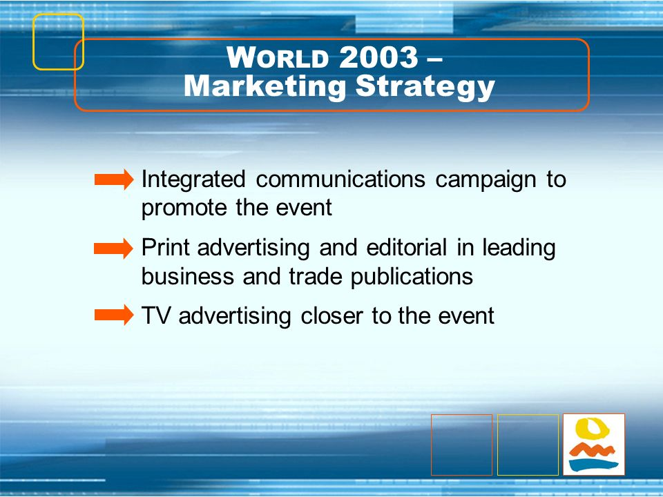 Integrated communications campaign to promote the event Print advertising and editorial in leading business and trade publications TV advertising clos