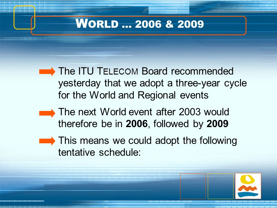 The ITU T ELECOM Board recommended yesterday that we adopt a three-year cycle for the World and Regional events The next World event after 2003 would therefore be in 2006, followed by 2009 This means we could adopt the following tentative schedule: W ORLD … 2006 & 2009