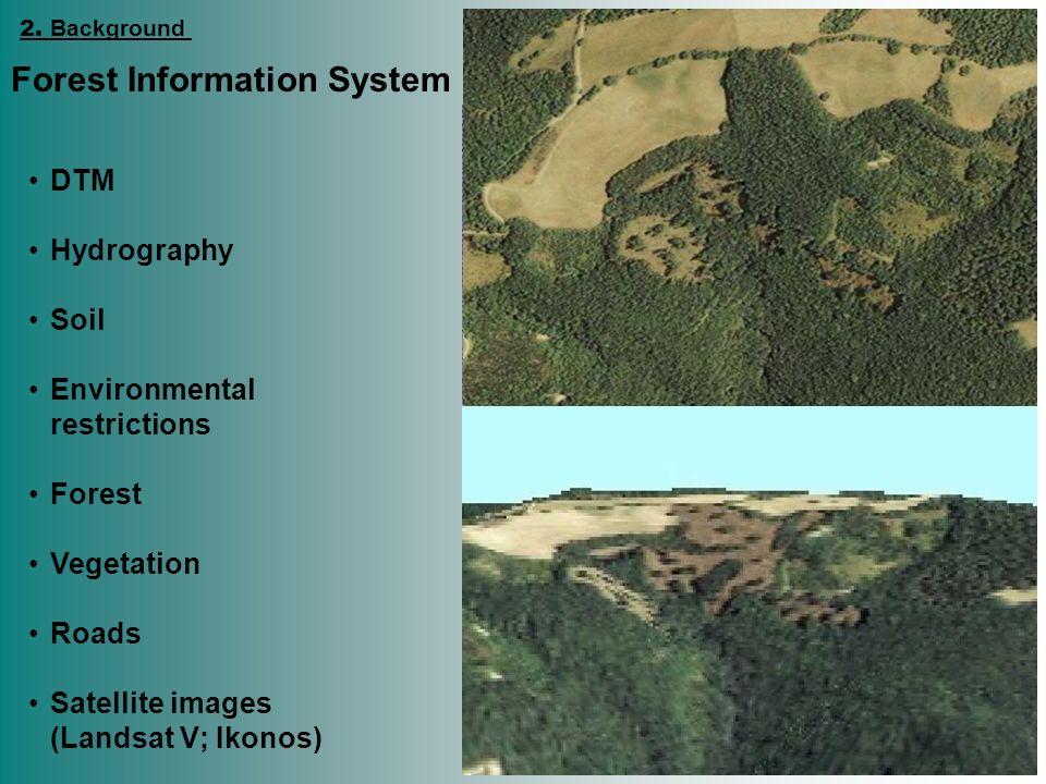 DTM Hydrography Soil Environmental restrictions Forest Vegetation Roads Satellite images (Landsat V; Ikonos) Forest Information System 2. Background