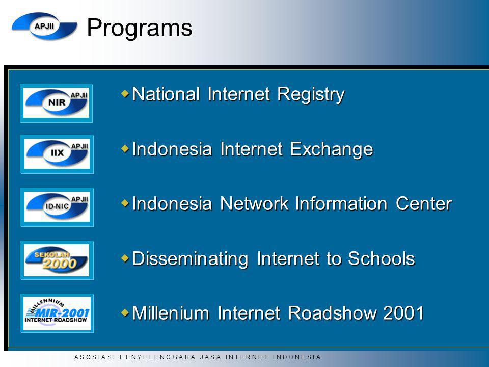 A S O S I A S I P E N Y E L E N G G A R A J A S A I N T E R N E T I N D O N E S I A Programs National Internet Registry National Internet Registry Ind