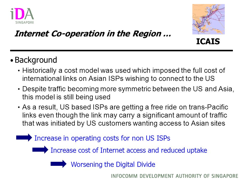 Internet Co-operation in the Region … ICAIS Background Historically a cost model was used which imposed the full cost of international links on Asian ISPs wishing to connect to the US Despite traffic becoming more symmetric between the US and Asia, this model is still being used As a result, US based ISPs are getting a free ride on trans-Pacific links even though the link may carry a significant amount of traffic that was initiated by US customers wanting access to Asian sites Increase in operating costs for non US ISPs Increase cost of Internet access and reduced uptake Worsening the Digital Divide