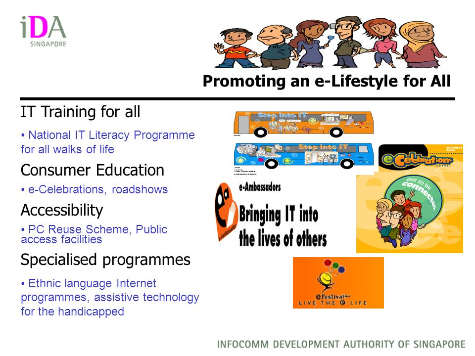 Promoting an e-Lifestyle for All IT Training for all National IT Literacy Programme for all walks of life Consumer Education e-Celebrations, roadshows Accessibility PC Reuse Scheme, Public access facilities Specialised programmes Ethnic language Internet programmes, assistive technology for the handicapped