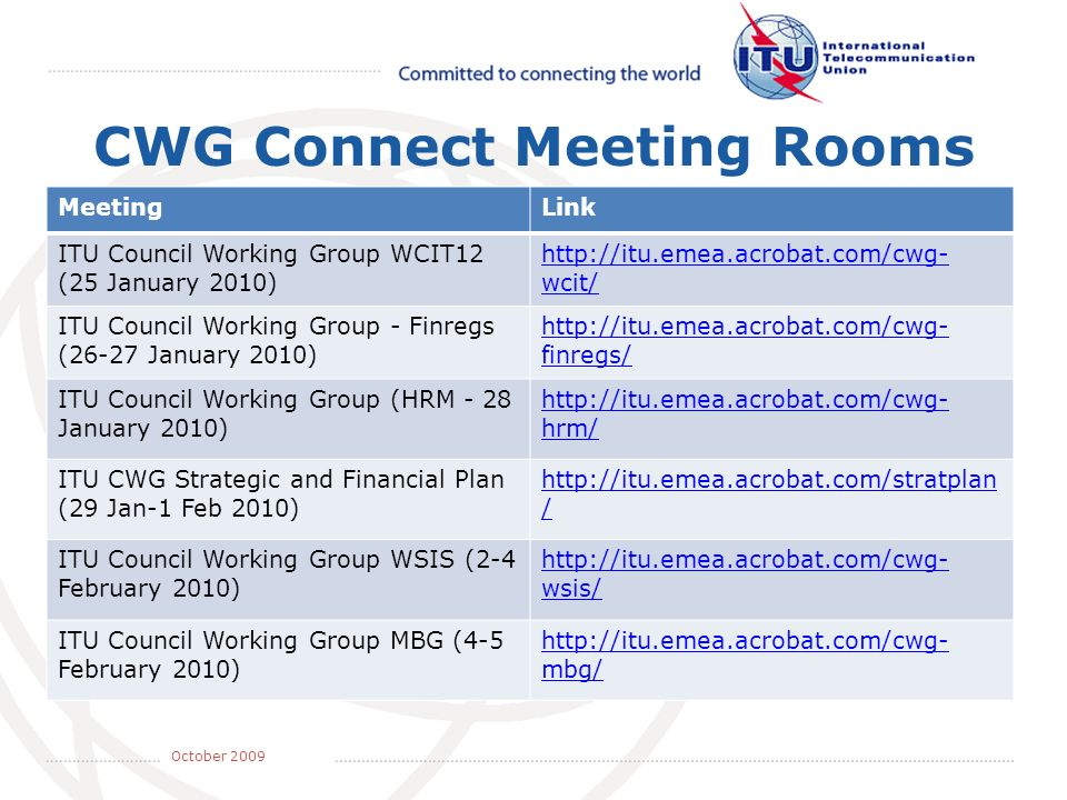 May 2008 October 2009 CWG Connect Meeting Rooms MeetingLink ITU Council Working Group WCIT12 (25 January 2010)   wcit/ ITU Council Working Group - Finregs (26-27 January 2010)   finregs/ ITU Council Working Group (HRM - 28 January 2010)   hrm/ ITU CWG Strategic and Financial Plan (29 Jan-1 Feb 2010)   / ITU Council Working Group WSIS (2-4 February 2010)   wsis/ ITU Council Working Group MBG (4-5 February 2010)   mbg/