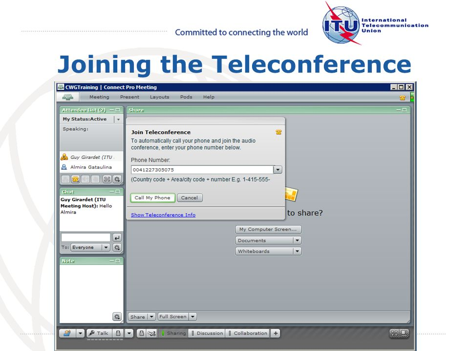 May 2008 October 2009 Joining the Teleconference