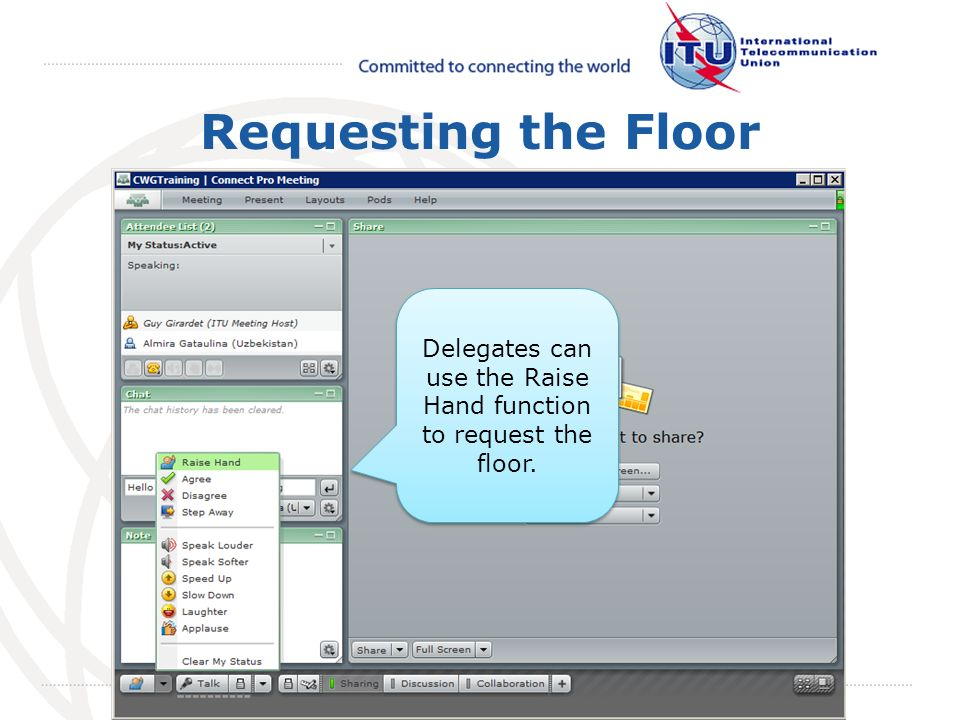 May 2008 October 2009 Requesting the Floor Delegates can use the Raise Hand function to request the floor.