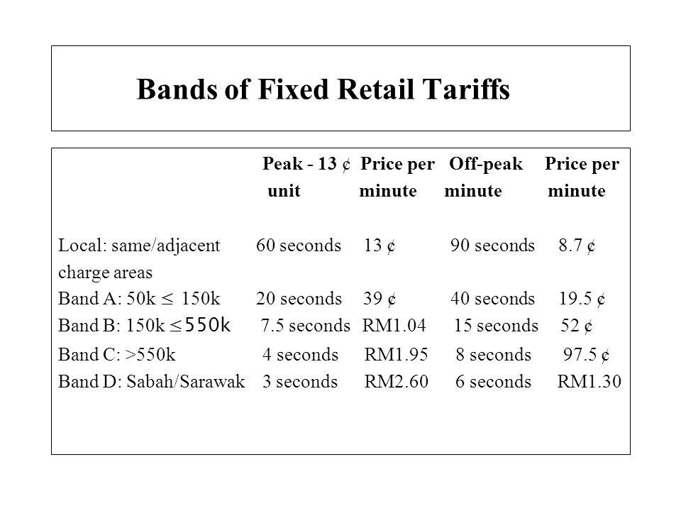 Bands of Fixed Retail Tariffs Peak - 13 ¢ Price per Off-peak Price per unit minute minute minute Local: same/adjacent 60 seconds 13 ¢ 90 seconds 8.7 ¢