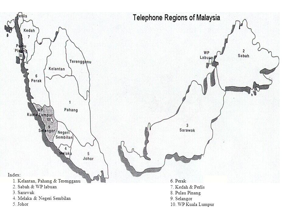 Index: 1. Kelantan, Pahang & Terengganu 2. Sabah & WP labuan 3. Sarawak 4. Melaka & Negeri Sembilan 5. Johor 6. Perak 7. Kedah & Perlis 8. Pulau Pinan