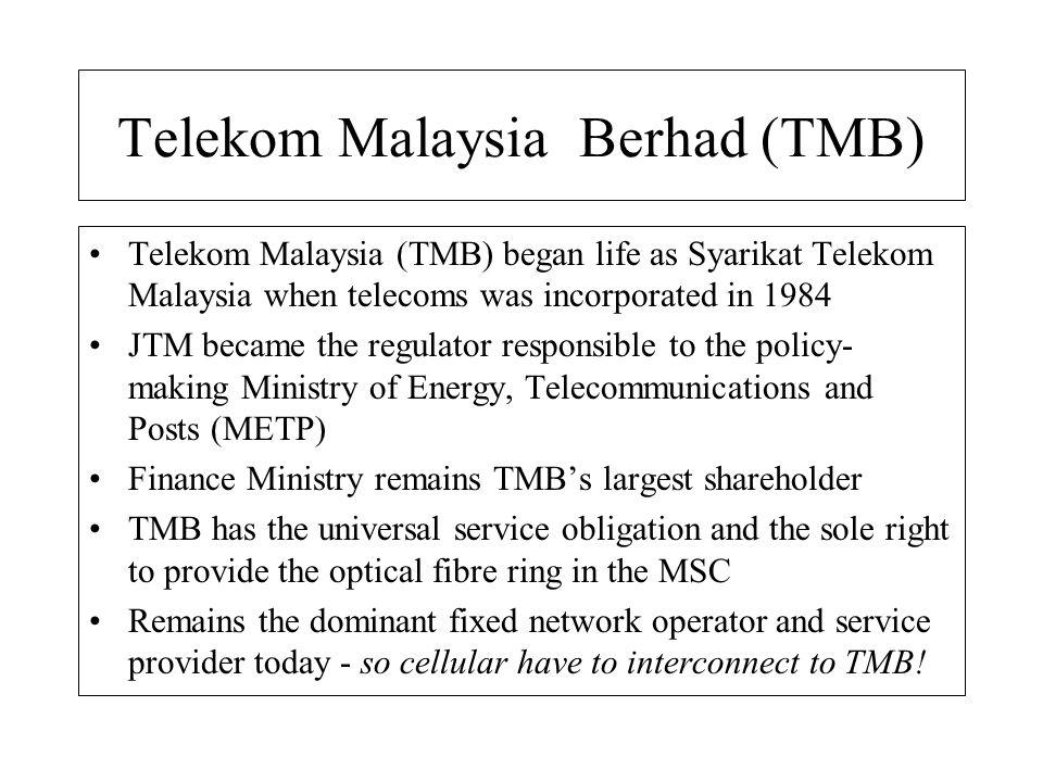 Telekom Malaysia Berhad (TMB) Telekom Malaysia (TMB) began life as Syarikat Telekom Malaysia when telecoms was incorporated in 1984 JTM became the reg