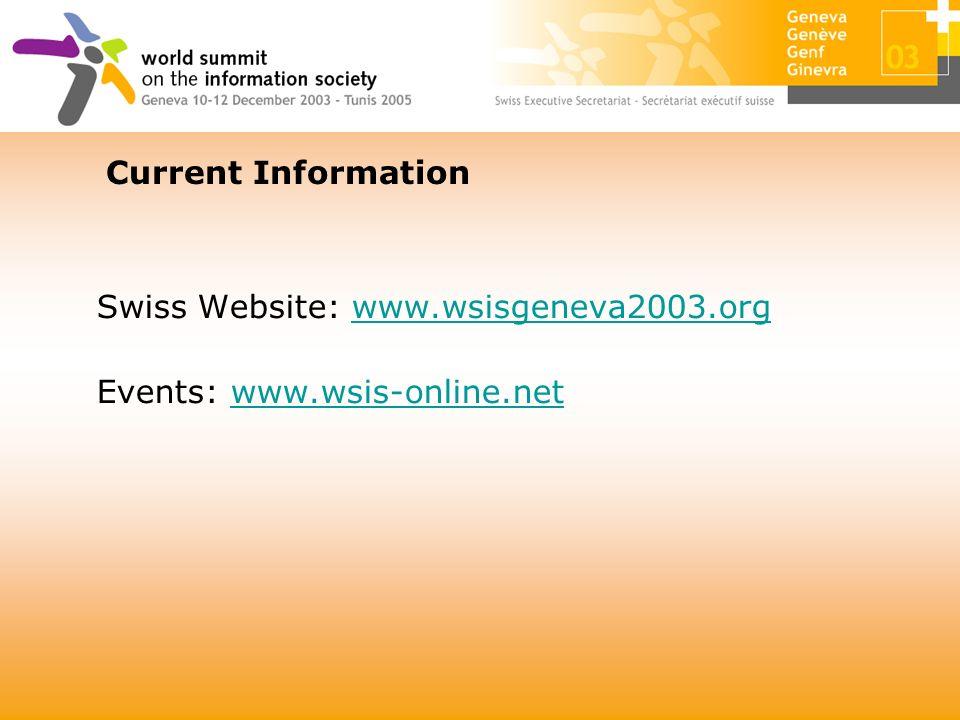Swiss Website: www.wsisgeneva2003.orgwww.wsisgeneva2003.org Events: www.wsis-online.netwww.wsis-online.net Current Information