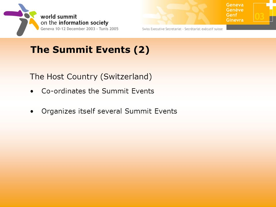 The Host Country (Switzerland) Co-ordinates the Summit Events Organizes itself several Summit Events The Summit Events (2)