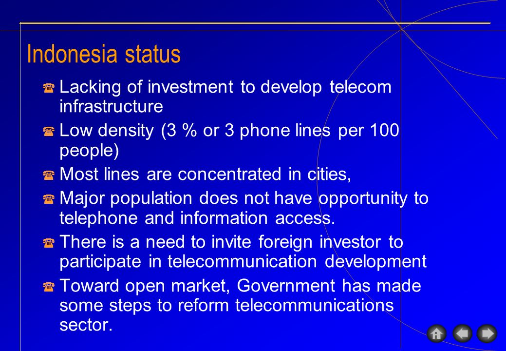 Recent status Telecom: & 7 million lines ( 3 % density) & Cellular: 4.7 millions Internet Access: & Users: estimated 4 millions & Potential users: estimated 61 millions & High growth in Internet users