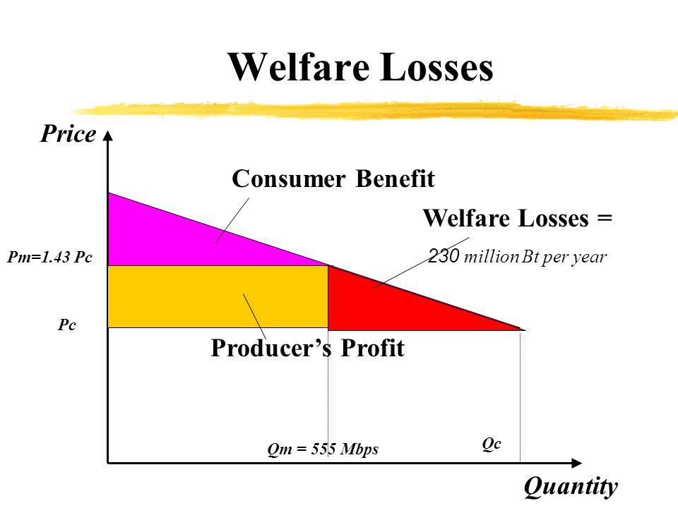 Consumer Benefit Quantity Price Qc Pc Qm = 555 Mbps Pm=1.43 Pc Producers Profit Welfare Losses = 230 million Bt per year Welfare Losses