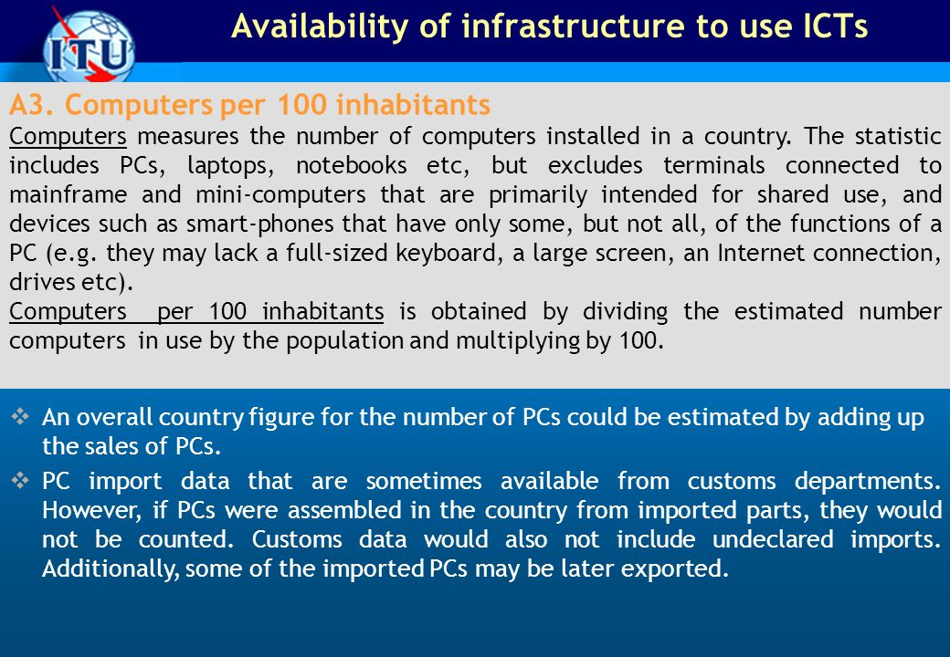 Availability of infrastructure to use ICTs A3.