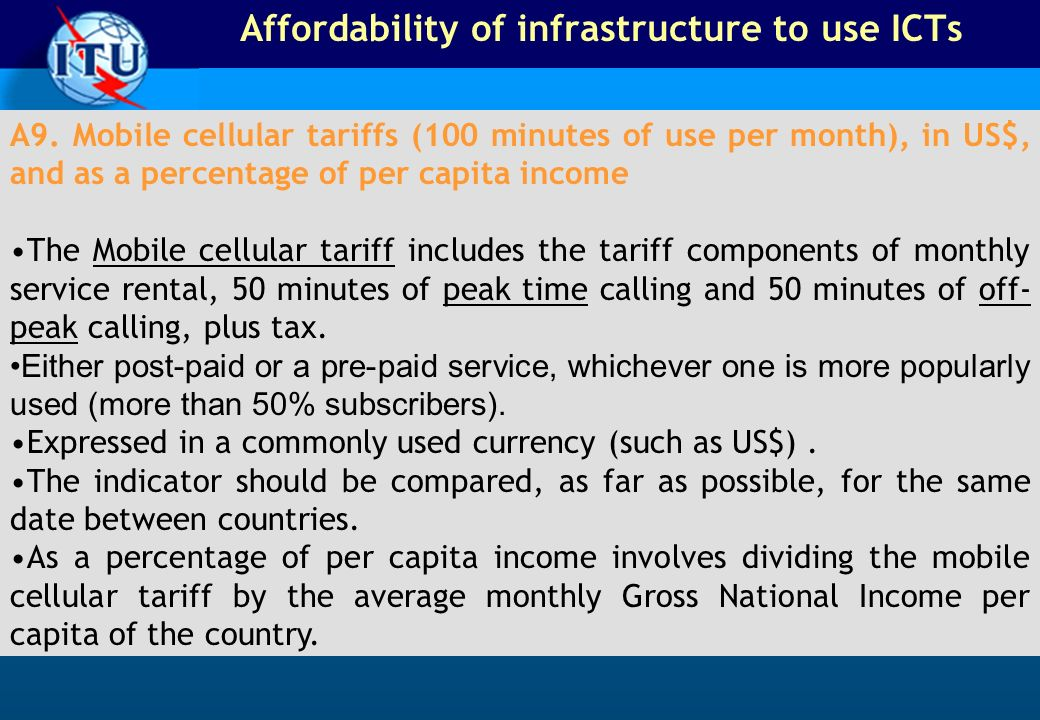 Affordability of infrastructure to use ICTs A9.