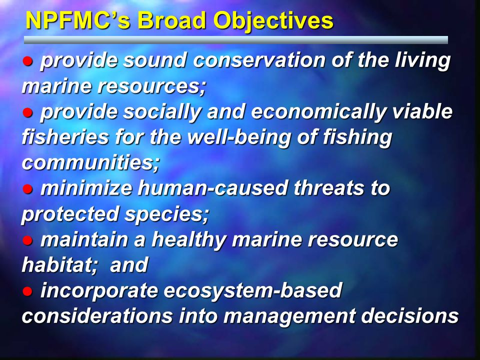 NPFMCs Broad Objectives provide sound conservation of the living marine resources; provide sound conservation of the living marine resources; provide socially and economically viable fisheries for the well-being of fishing communities; provide socially and economically viable fisheries for the well-being of fishing communities; minimize human-caused threats to protected species; minimize human-caused threats to protected species; maintain a healthy marine resource habitat; and maintain a healthy marine resource habitat; and incorporate ecosystem-based considerations into management decisions incorporate ecosystem-based considerations into management decisions