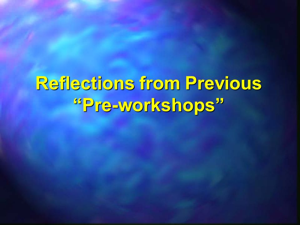 Reflections from Previous Pre-workshops