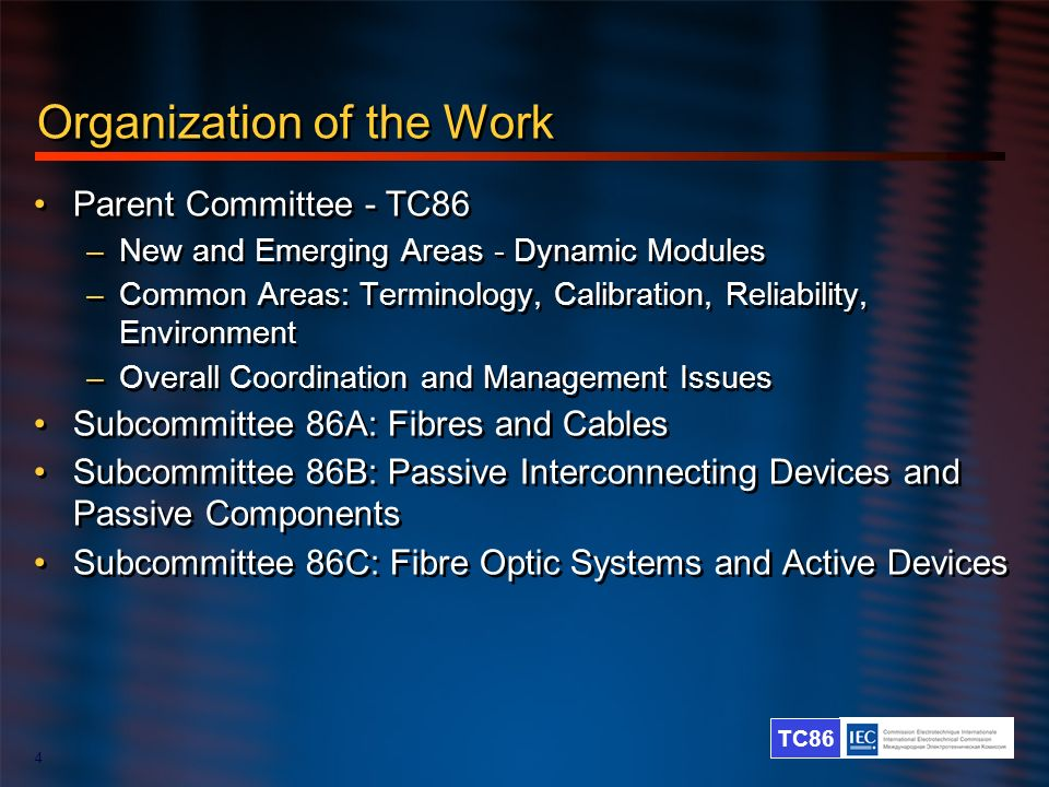 TC86 4 Organization of the Work Parent Committee - TC86 –New and Emerging Areas - Dynamic Modules –Common Areas: Terminology, Calibration, Reliability