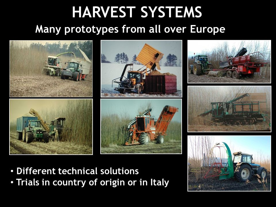 HARVEST SYSTEMS Many prototypes from all over Europe Different technical solutions Trials in country of origin or in Italy