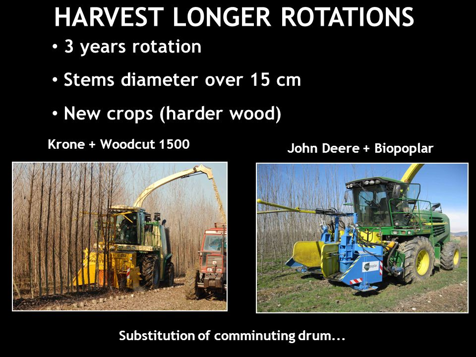 HARVEST LONGER ROTATIONS 3 years rotation Stems diameter over 15 cm New crops (harder wood) Krone + Woodcut 1500 John Deere + Biopoplar Substitution of comminuting drum...