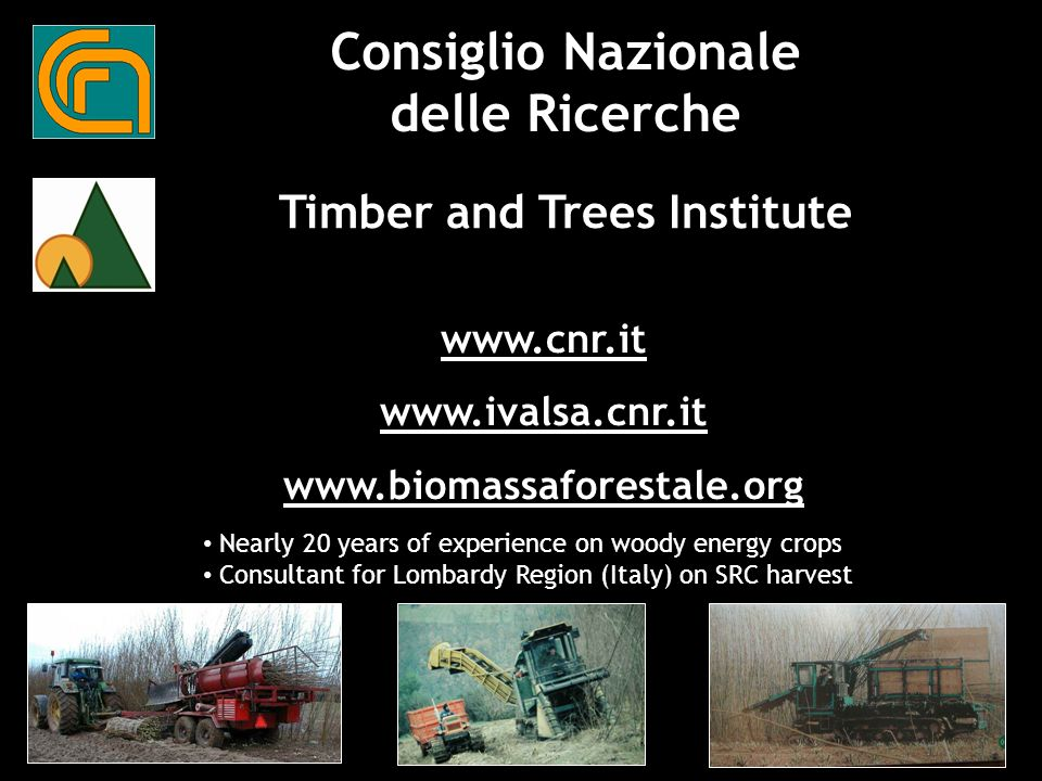 Consiglio Nazionale delle Ricerche Timber and Trees Institute Nearly 20 years of experience on woody energy crops Consultant for Lombardy Region (Italy) on SRC harvest