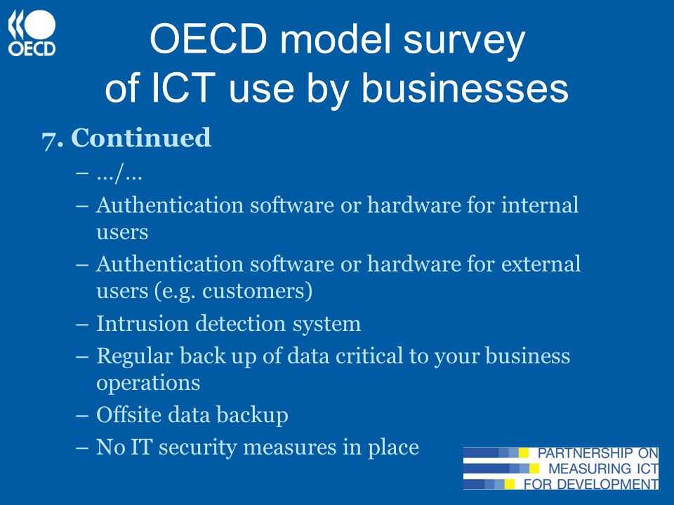 OECD model survey of ICT use by businesses 8.