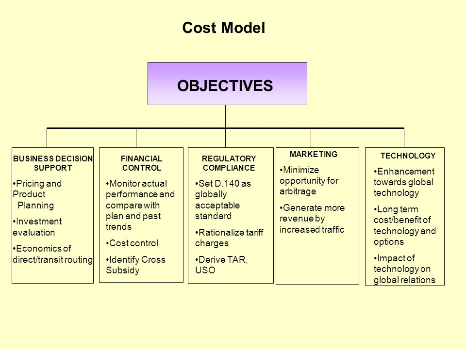 OBJECTIVES BUSINESS DECISION SUPPORT Pricing and Product Planning Investment evaluation Economics of direct/transit routing FINANCIAL CONTROL Monitor
