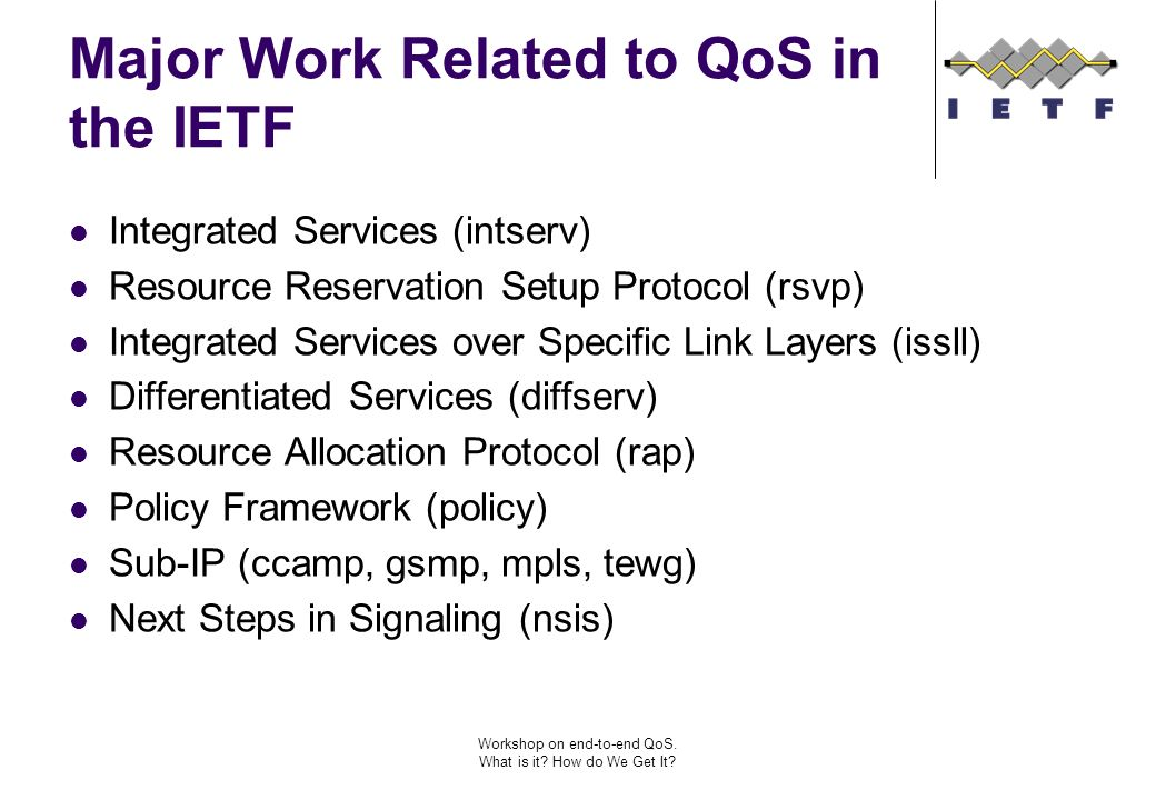 Workshop on end-to-end QoS. What is it. How do We Get It.