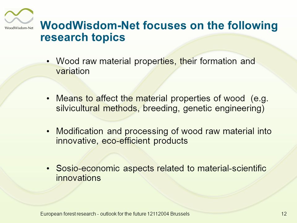 European forest research - outlook for the future 12112004 Brussels12 WoodWisdom-Net focuses on the following research topics Wood raw material properties, their formation and variation Means to affect the material properties of wood (e.g.