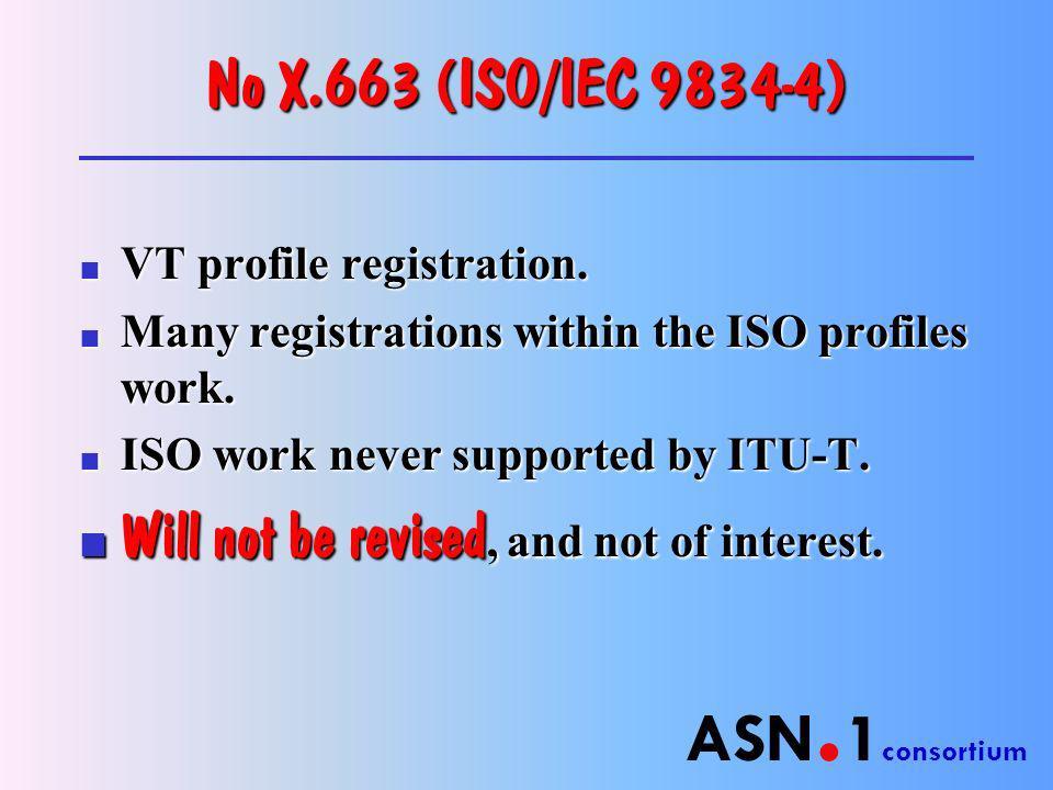 ASN. 1 consortium No X.663 (ISO/IEC 9834-4) n VT profile registration.
