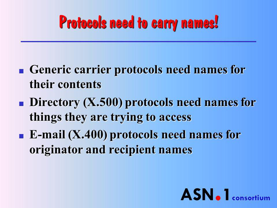 ASN. 1 consortium Protocols need to carry names.