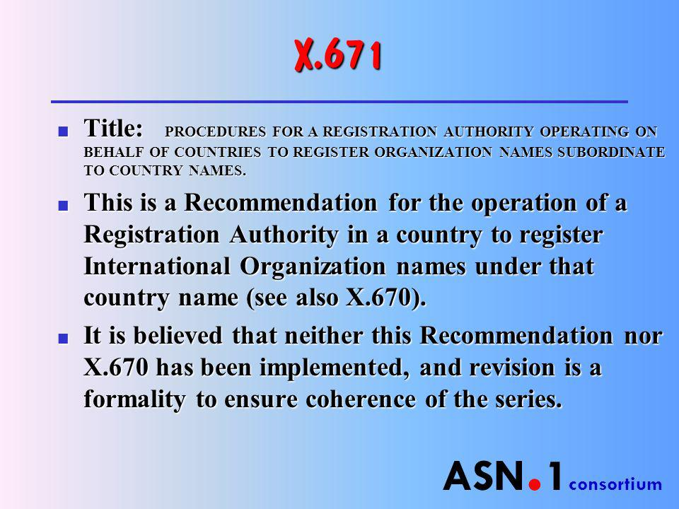 ASN. 1 consortium X.671 n Title: PROCEDURES FOR A REGISTRATION AUTHORITY OPERATING ON BEHALF OF COUNTRIES TO REGISTER ORGANIZATION NAMES SUBORDINATE T