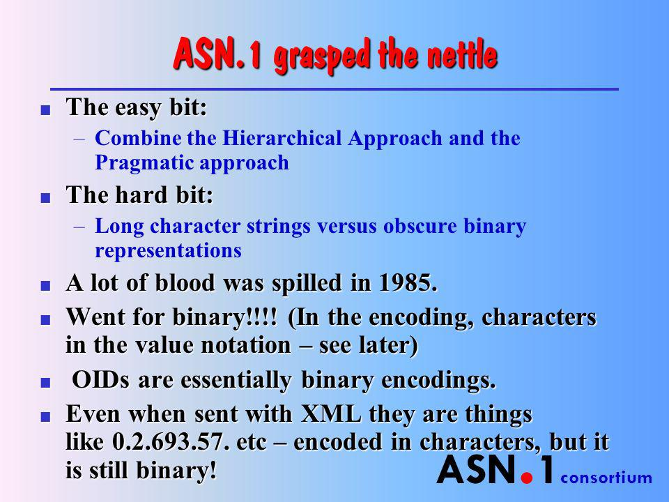 ASN. 1 consortium ASN.1 grasped the nettle n The easy bit: –Combine the Hierarchical Approach and the Pragmatic approach n The hard bit: –Long charact
