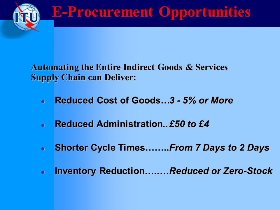 E-Procurement Opportunities Reduced Cost of Goods… Reduced Cost of Goods… Reduced Administration..