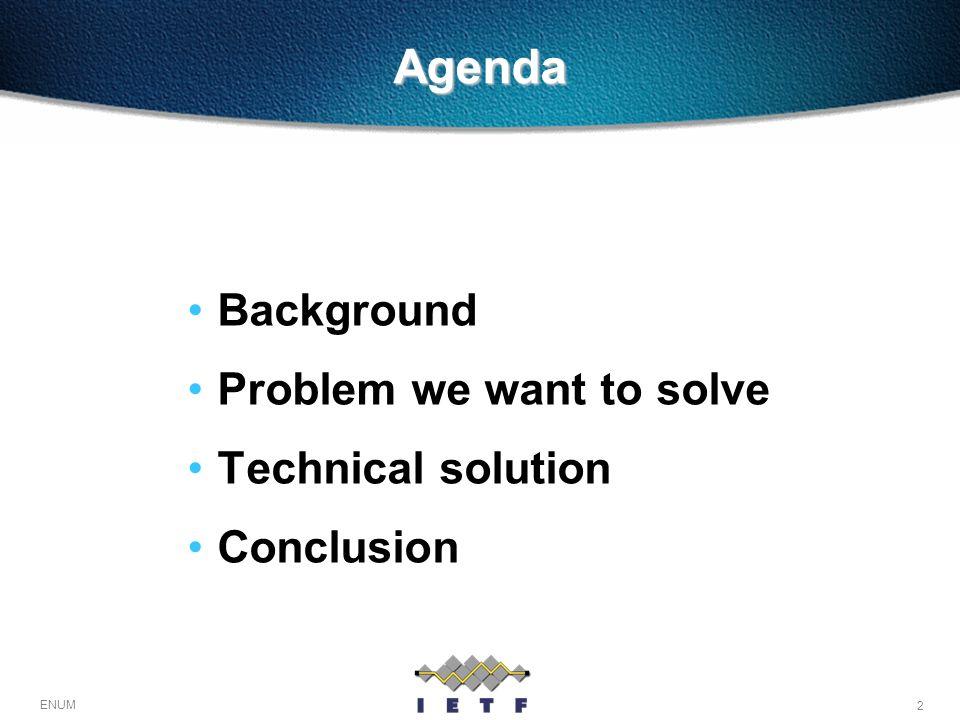 2 ENUM Agenda Background Problem we want to solve Technical solution Conclusion