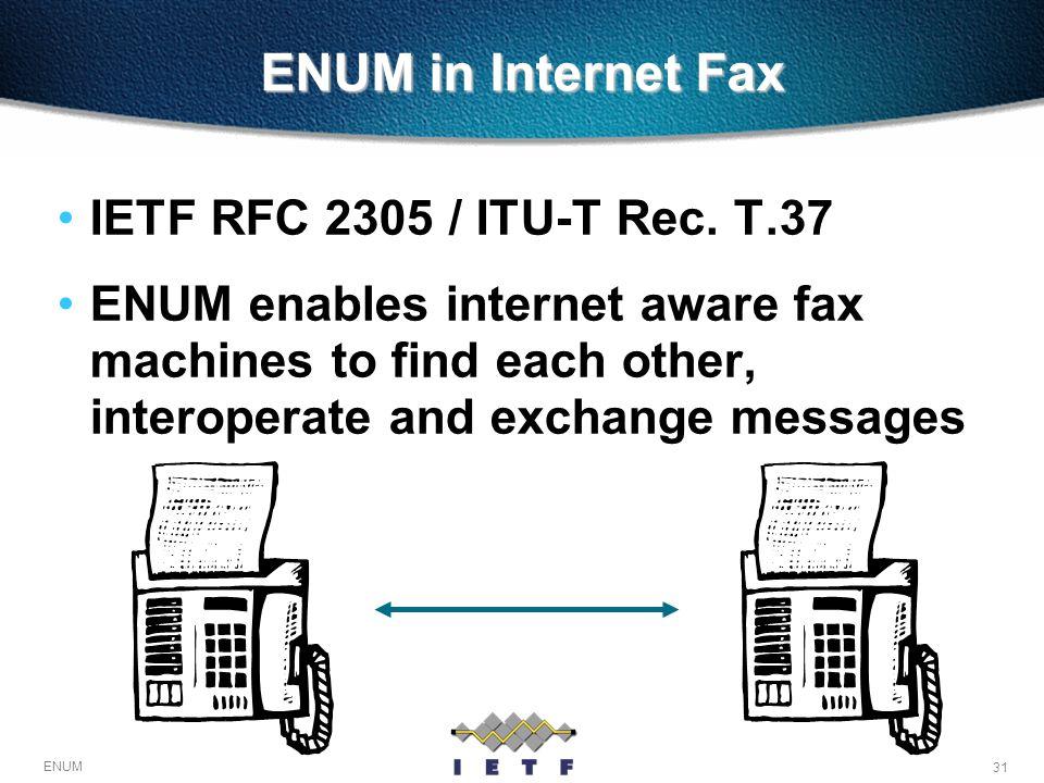 31 ENUM ENUM in Internet Fax IETF RFC 2305 / ITU-T Rec. T.37 ENUM enables internet aware fax machines to find each other, interoperate and exchange me