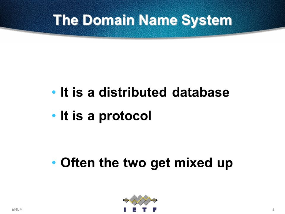 25 ENUM DNS Hierarchy Strictly delegated One authoritative server for each name, and only one Have led to the registry/registrar model One responsible registry, but many registrars which talk with customers