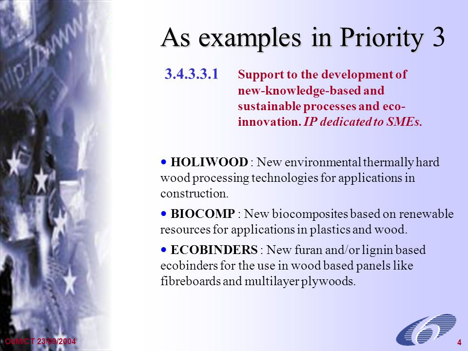 General Presentation Dec 2002 4 OdM/CT 23/09/2004 4 3.4.3.3.1 Support to the development of new-knowledge-based and sustainable processes and eco- innovation.