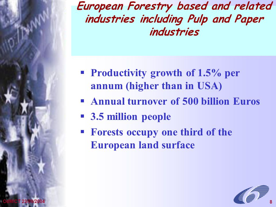 General Presentation Dec 2002 8 OdM/CT 23/09/2004 8 European Forestry based and related industries including Pulp and Paper industries Productivity growth of 1.5% per annum (higher than in USA) Annual turnover of 500 billion Euros 3.5 million people Forests occupy one third of the European land surface