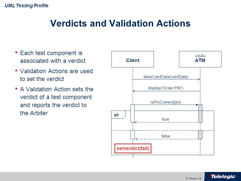 © Telelogic AB UML Testing Profile Verdicts and Validation Actions Each test component is associated with a verdict Validation Actions are used to set