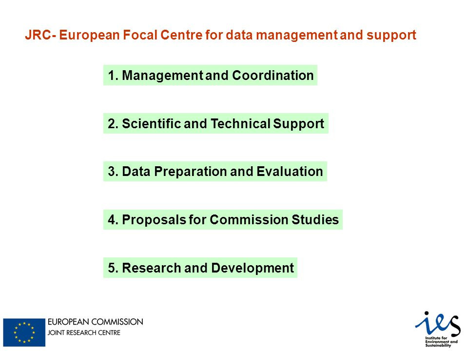 1. Management and Coordination 2. Scientific and Technical Support 3.