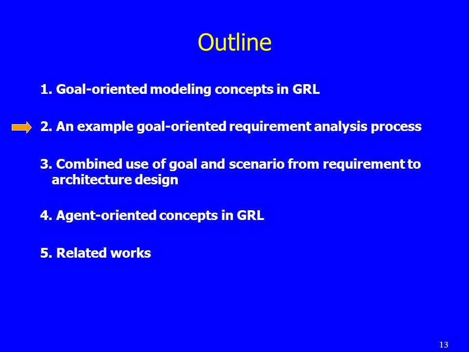 13 Outline 1.Goal-oriented modeling concepts in GRL 2.
