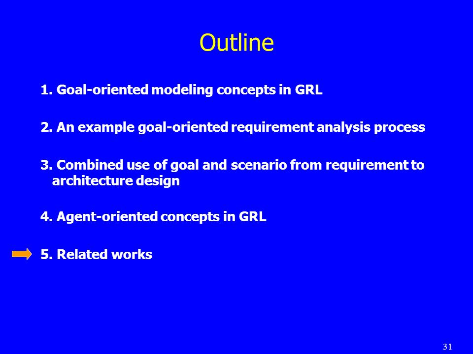 31 Outline 1.Goal-oriented modeling concepts in GRL 2.