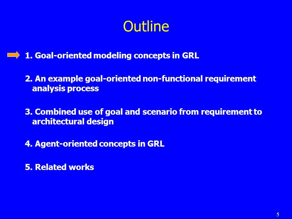 5 Outline 1. Goal-oriented modeling concepts in GRL 2.