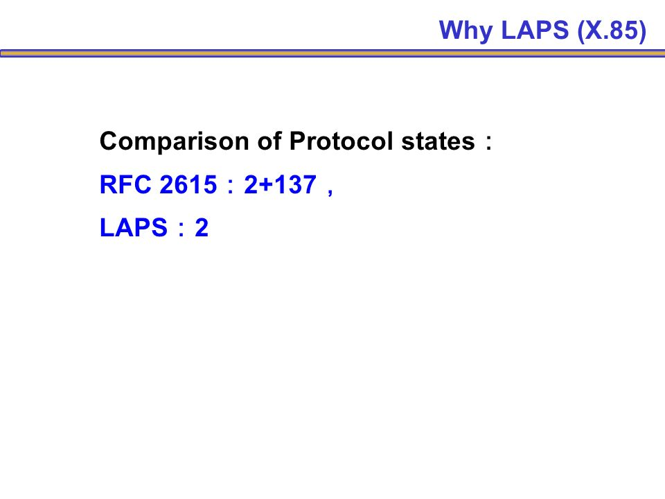Comparison of Protocol states RFC 2615 2+137 LAPS 2 Why LAPS (X.85)