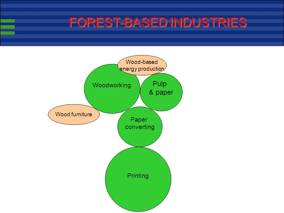 Wood working 32 billion value added Paper converting 24 Printing 44 Pulp & paper 23 FOREST-BASED INDUSTRIES