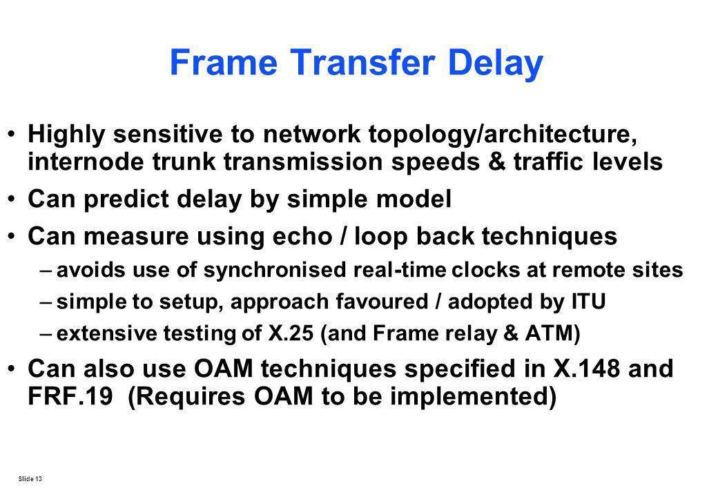 Slide 13 Frame Transfer Delay Highly sensitive to network topology/architecture, internode trunk transmission speeds & traffic levels Can predict dela