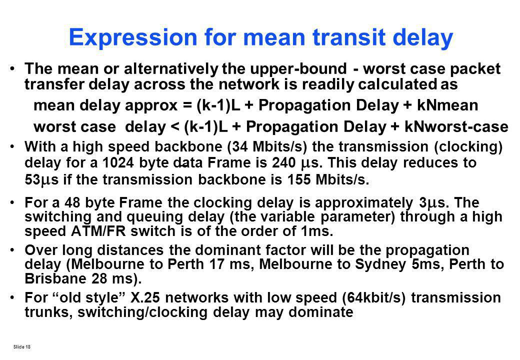 Slide 18 Expression for mean transit delay The mean or alternatively the upper-bound - worst case packet transfer delay across the network is readily