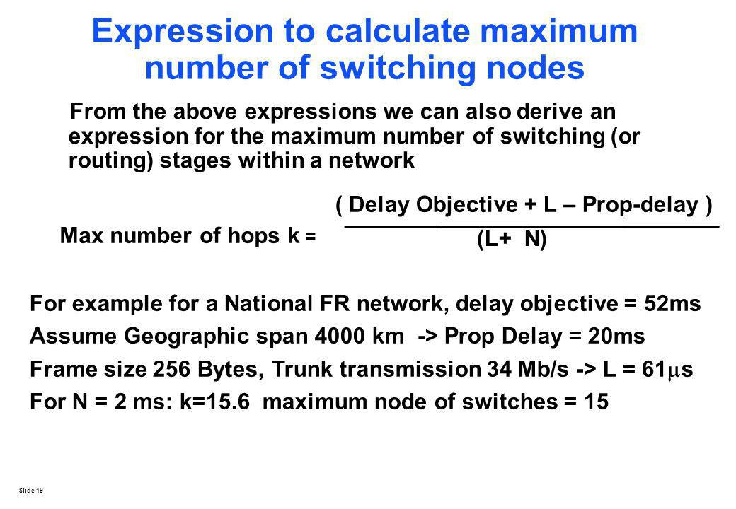 Slide 19 Expression to calculate maximum number of switching nodes From the above expressions we can also derive an expression for the maximum number