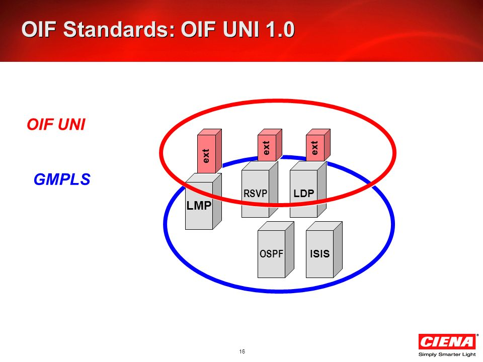 16 OIF Standards: OIF UNI 1.0 OIF UNI GMPLS LMP RSVP LDP OSPF ISIS ext