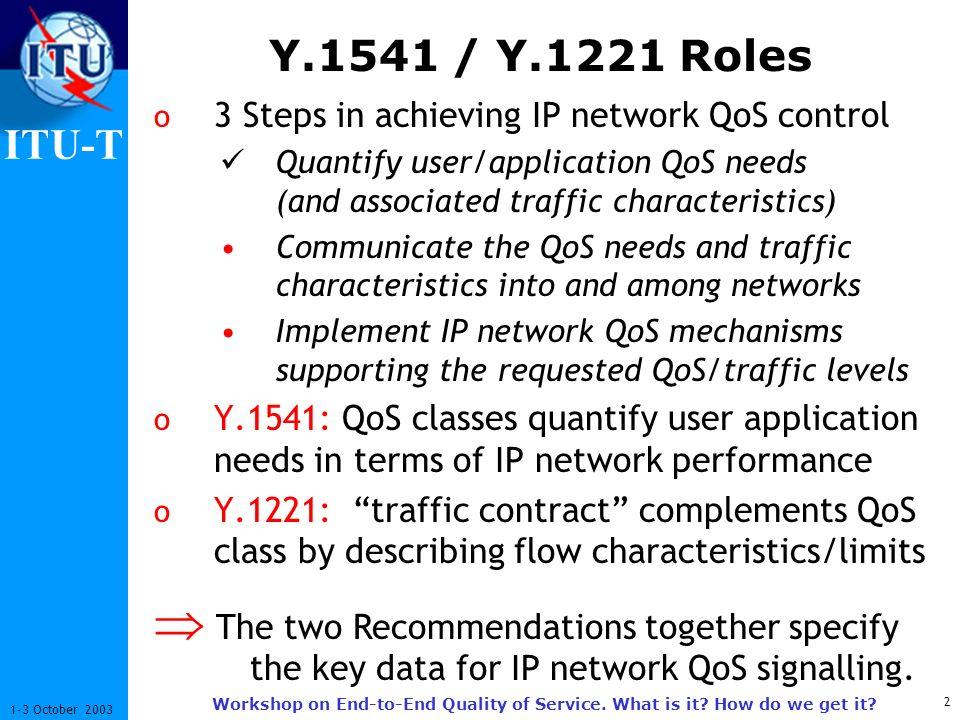 ITU-T 13 1-3 October 2003 Workshop on End-to-End Quality of Service.